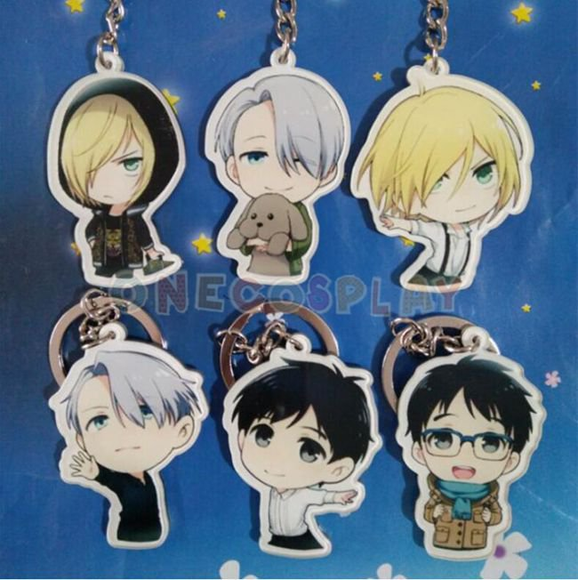 YURI!!! on ICE Cosplay Accessories Key Chains Yuri Plisetsky Keychains for Cars Bags Pendants