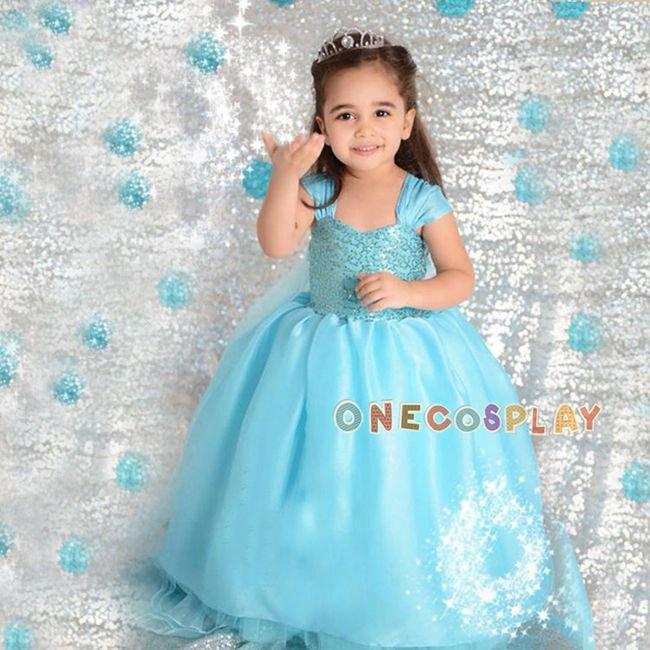 Elsa Cosplay Costume For Kids Sleeveless Princess Dress Fairy Tales Princess Children Dress