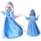Snow Queen Cosplay Costume for Kids Elsa Dress Children Costume dress+cloak+ sleevelet