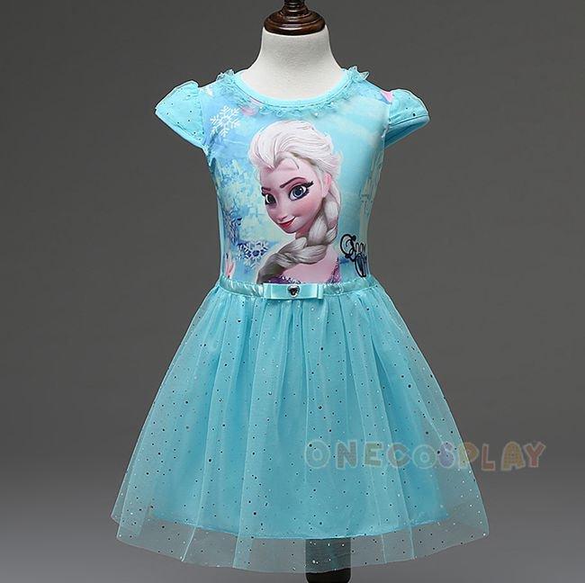 Summer Children Short Sleeve Dress Elsa Anna Girls Cosplay Dress Princess Dress for Kids