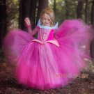 Kids Princess Party Dress Princess Aurora Dress Sleeping Beauty Cosplay Costume Pink