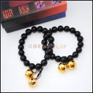 2pcs/lot, Hell Girl Enma Ai Black Bean Stone Bracelet with two Bells in golden color