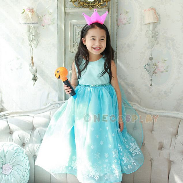 2017 Summer Kids Princess Dress Elsa Cosplay Costumes for Girls The Snow Queen Party Clothing Dress