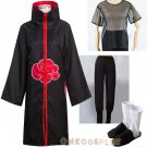 Naruto Akatsuki Cosplay Costume Set Akatsuki Cloak Pants Underwear Shoes
