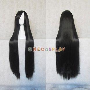 100cm Black Straight Cosplay Wig Kikyou/ Akiyama Mio Cosplay Wig
