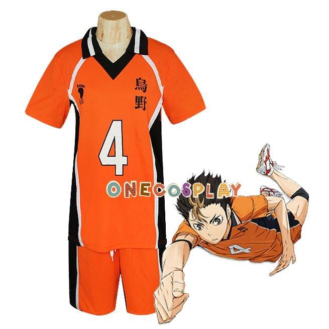 Haikyuu!! Nishinoya Yuu Cosplay Costume Karasuno High School Uniform Number 4 Volleyball Jersey