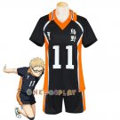 Haikyuu!! Tsukishima Kei Cosplay Costume Karasuno High School Uniform Number 11 Volleyball Jersey