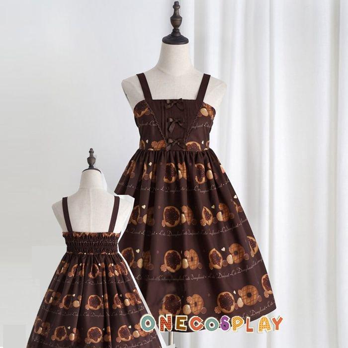 Doughnut Biscuit Cute Party Clothes Princess Sweet JSK Dress Elastic Spaghetti Strap Lolita Dress