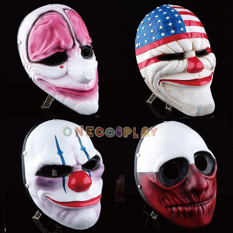 Game Payday2 Cosplay Mask Adult Halloween Party Mask Dallas/Wolf/Chains/Houston Full Face Mask