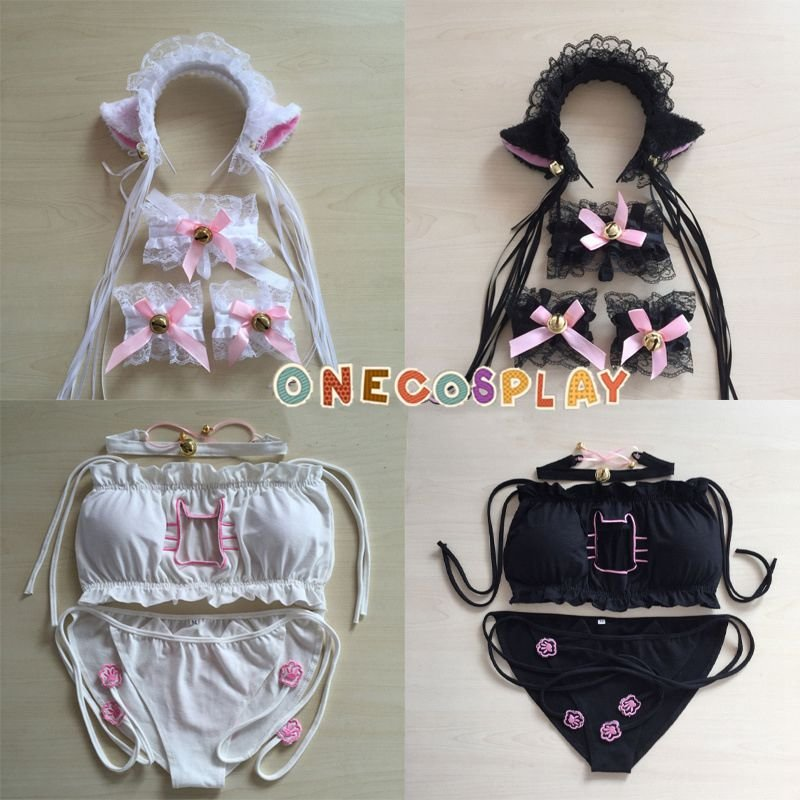 Sexy Sukumizu kitten underwear cosplay costume + lace cat ears headwear set