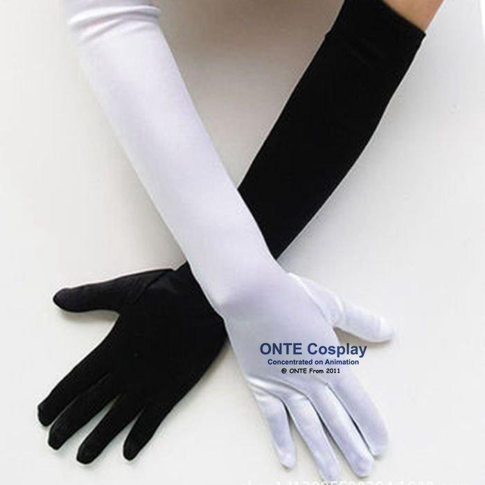 Maid Cosplay Gloves 52cm Etiquette Elastic Tight Spandex Gloves Black White