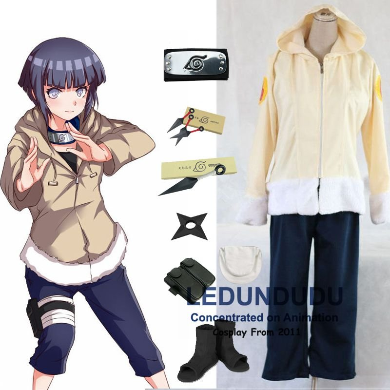 Ainme Naruto Cosplay Clothes  Hyuuga Hinata 1st Cosplay Costume and Accessories Set