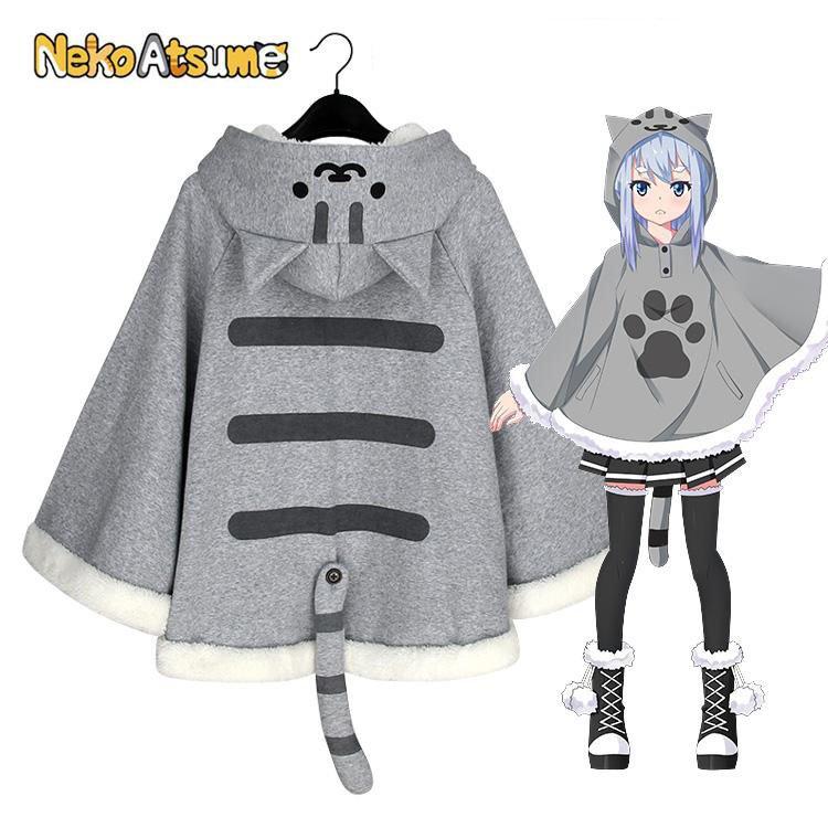 New Arrival Neko Atsume Cosplay Costume Cute Cat Thicken Flannel Thicken Cloak Coat