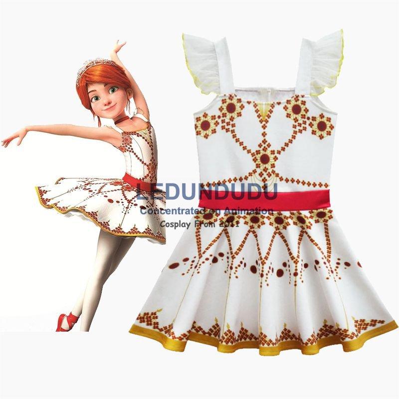 Children's White Print Dress Movie Ballerina Cosplay Costume Kid Baby Girl Sleeveless Dress
