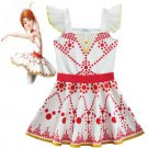 Summer Children's Red Print Dress Movie Ballerina Cosplay Costume Kid Baby Girl Sleeveless Dress