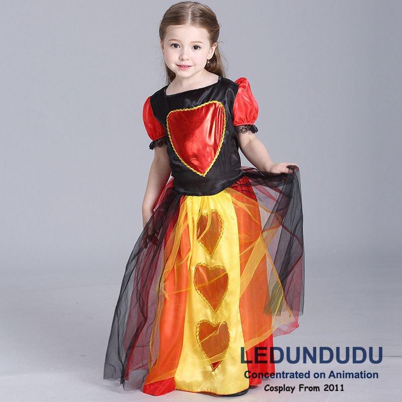 Girls Queen Of Hearts Party Dress Kids Fancy Clothing Children's Halloween Party Cosplay Costume