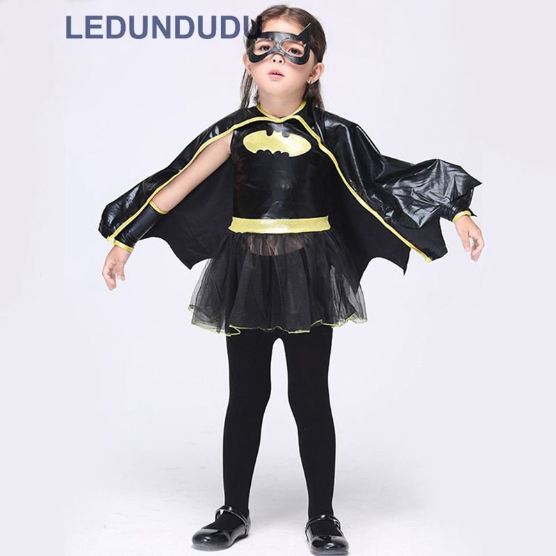 Kids Superhero Batman Girls Dress Halloween Children Fancy Party Tutu Dresses Cosplay Costumes