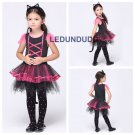 Girls Funny Catwoman Cosplay Lovely Cat Children Ballet Dresses Halloween Costumes