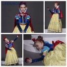 High Quality Snow Whit Cosplay Costume for Kid Girls Princess Gem Dress Children Halloween Clothes