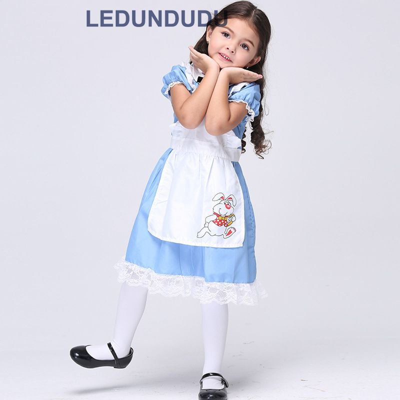 Kids Alice In Wonderland Cosplay Costumes Girls Princess Dress Children Blue Maid Clothes