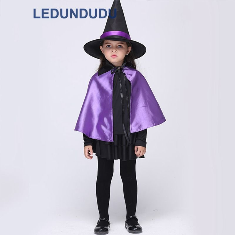 Kids Witch Cosplay Costume with Hat Children Halloween Party Clothes Girls Purple Witch Cape