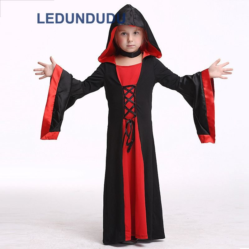 Children Vampire Cosplay Costume Magic Witch Clothes Kids Halloween Fancy Party Dress