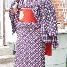 Blue and Red Kimono and Haori Rental