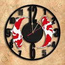 Koi Fish Goldfish Wall Clock Vinyl Record Clock
