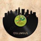Columbus Skyline Vinyl Record Clock Wall Clock Handmade