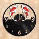 Koi Fish Wall Clock Vinyl Record Clock Handmade