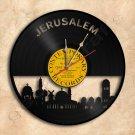 Jerusalem Skyline Vinyl Record Clock Wall Clock Handmade