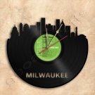 Milwaukee Skyline Vinyl Record Clock Wall Clock Handmade