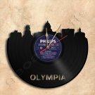 Olympia Skyline Vinyl Record Clock Wall Clock Handmade