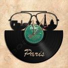 Paris Skyline Vinyl Record Clock Wall Clock Handmade