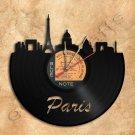 Paris Skyline Vinyl Record Clock Wall Clock