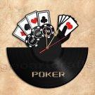 Poker Game Wall Clock Vinyl Record Clock Handmade