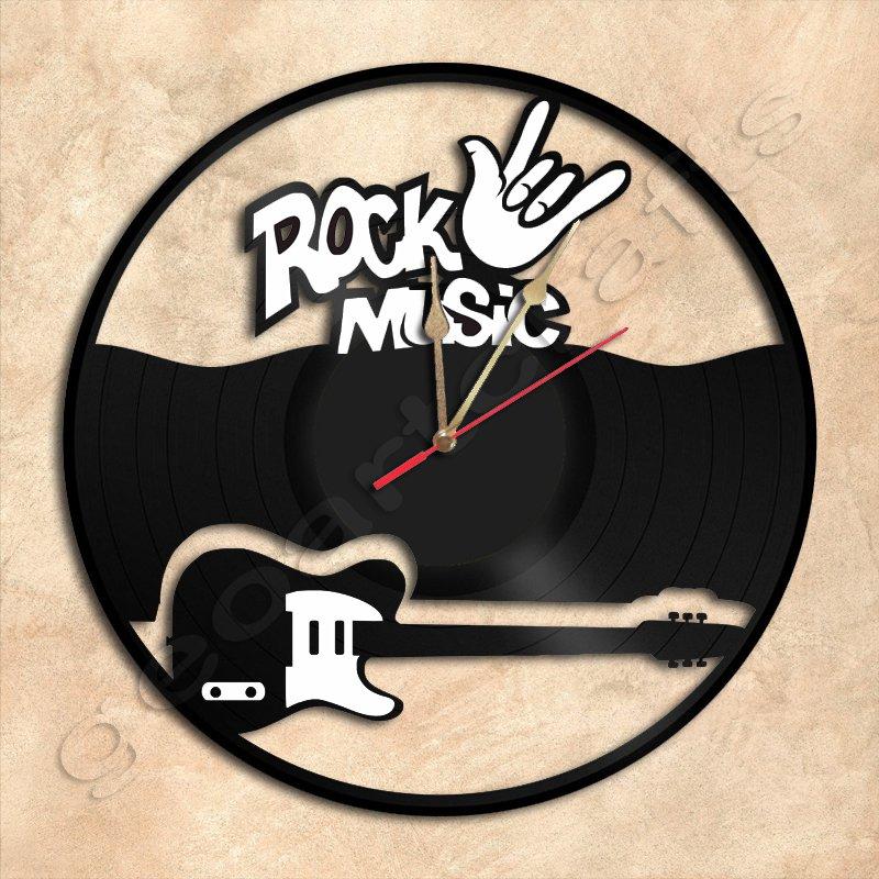 Rock Music Wall Clock Vinyl Record Clock Handmade