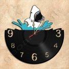 Shark Jaws Wall Clock Vinyl Record Clock Handmade