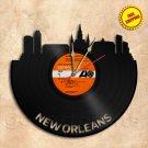 New Orleans City Skyline Vinyl Record Clock Wall Clock