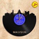 Madison City Skyline Vinyl Record Clock Wall Clock