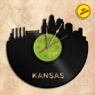 Kansas City Skyline Vinyl Record Clock Wall Clock
