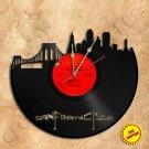 San Francisco Skyline Vinyl Record Clock Wall Clock