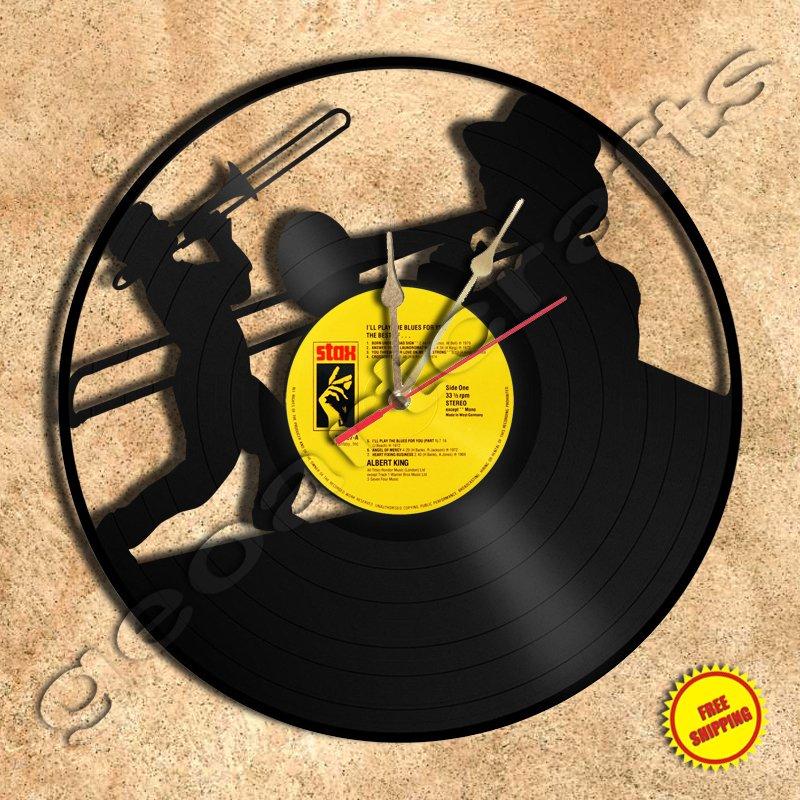 Trombone Handmade Vinyl Record Clock Wall Clock