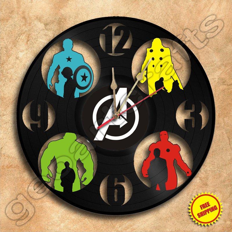 Movie Heroes Wall Clock Vinyl Record Clock Handmade