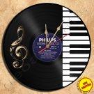 Music Key Keyboard Handmade Vinyl Record Clock Wall Clock