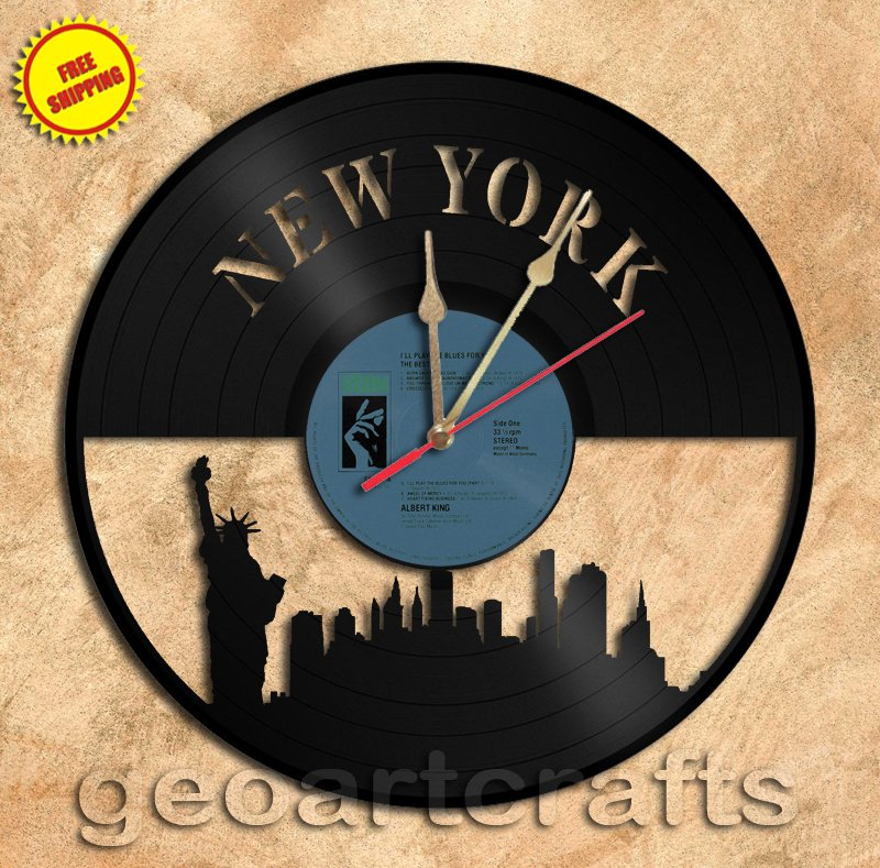 New York Skyline Vinyl Record Clock Wall Clock