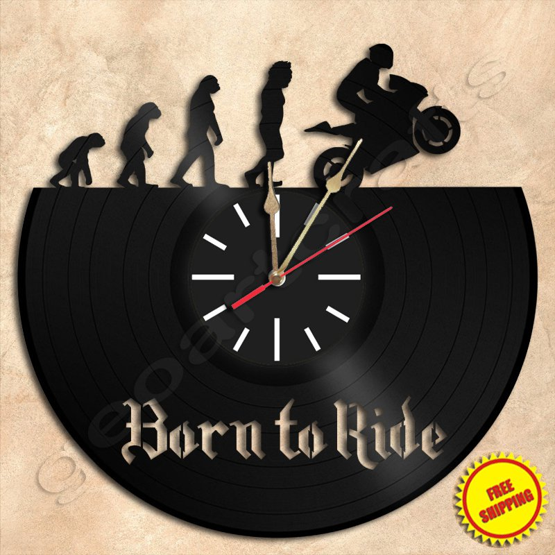 Born to Ride Wall Clock Vinyl Record Clock Wall Clock Handmade