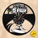 Surfing Wall Clock Vinyl Record Clock Handmade