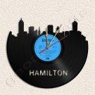 Hamilton Skyline Wall Clock Vinyl Record Clock Upcycled Gift Idea