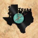 Texas Wall Clock Vinyl Record Clock Upcycled Gift Idea
